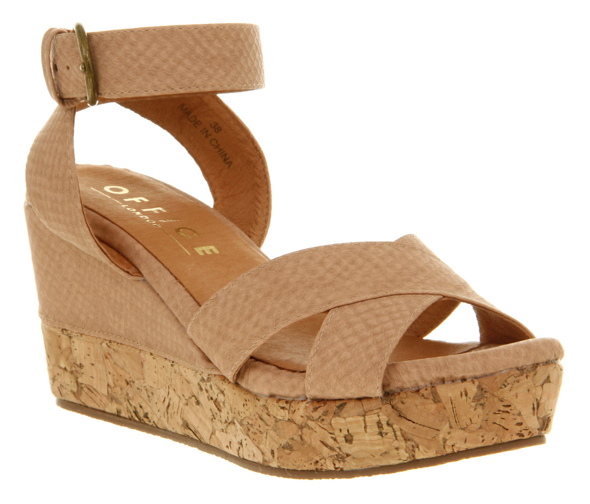 Womens-Office-London-Windsor-Wedge-Nude-Snake-Pu-Heels