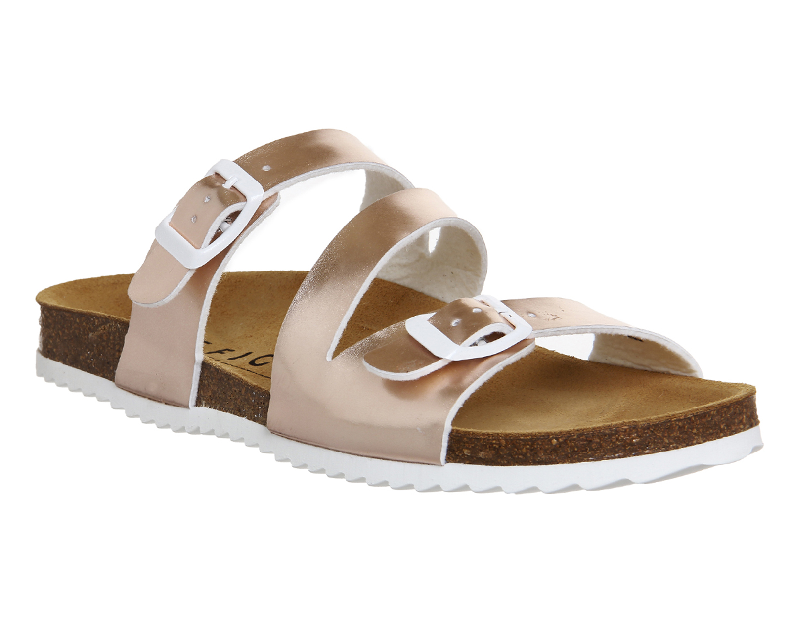 Womens Office Bounty Cross Strap Footbed Rose Gold