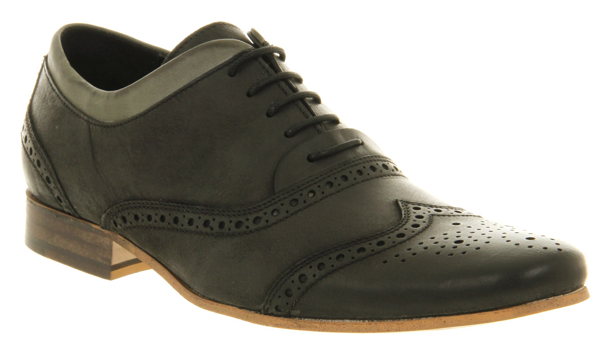 Mens Ask The Missus Osaka Brogue Black Leather Formal ...