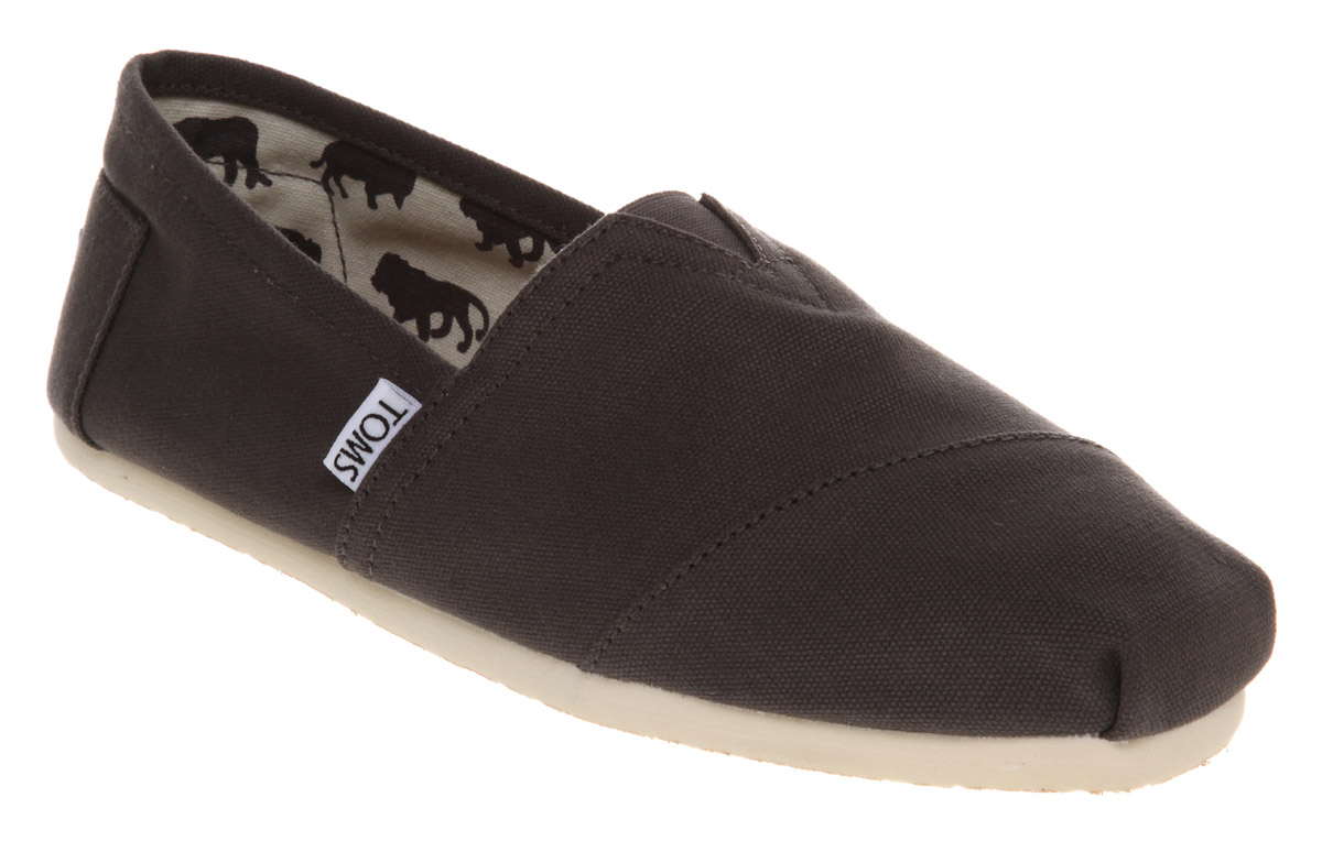 mens toms classic slip ons ash canvas casual shoes ebay