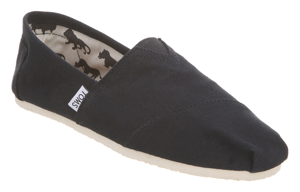 mens toms classic slip ons black canvas casual shoes ebay