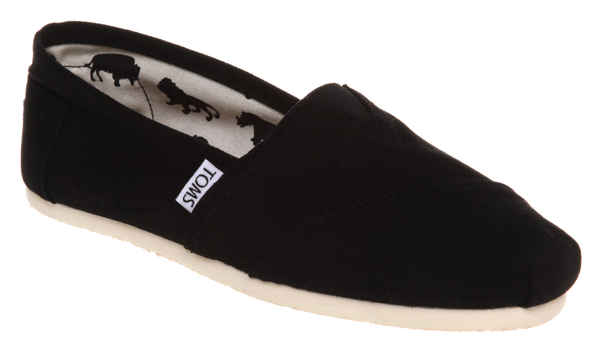 Womens Black Canvas Slip On Shoes   Heel