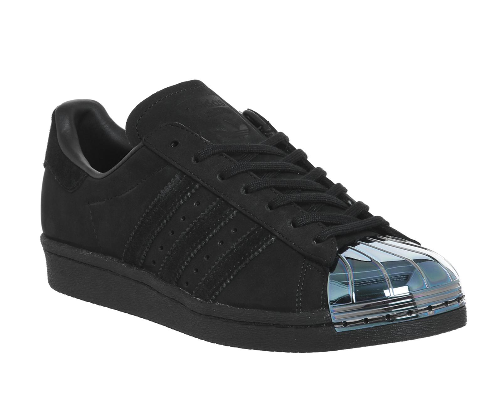 bd682ceda863e Womens Adidas Superstar 80 s Metal Toe Trainers BLACK PETROL ...