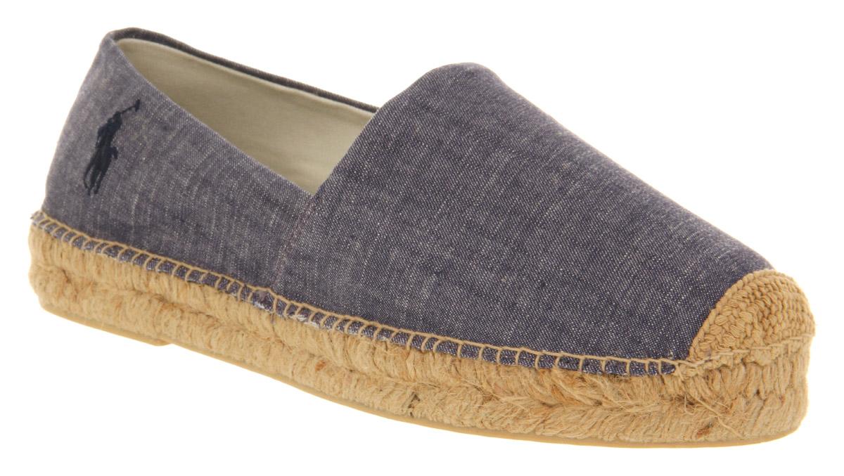 mens ralph lauren mooretown espadrille blue chambray canvas casual shoes. Black Bedroom Furniture Sets. Home Design Ideas