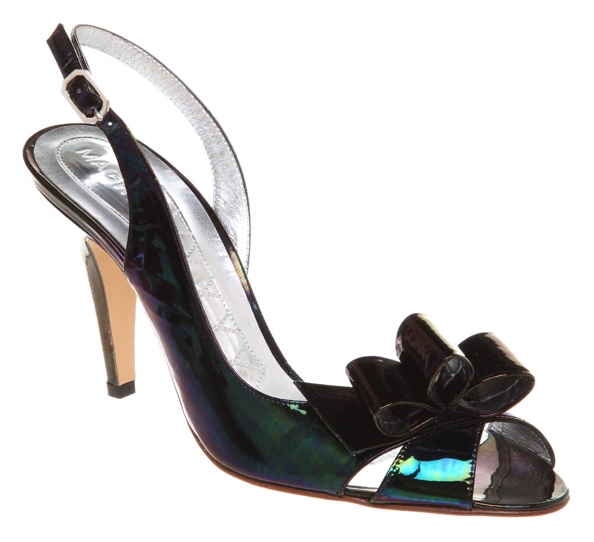 Womens-Magrit-High-Bow-Ptoe-Sling-Black-Petrol