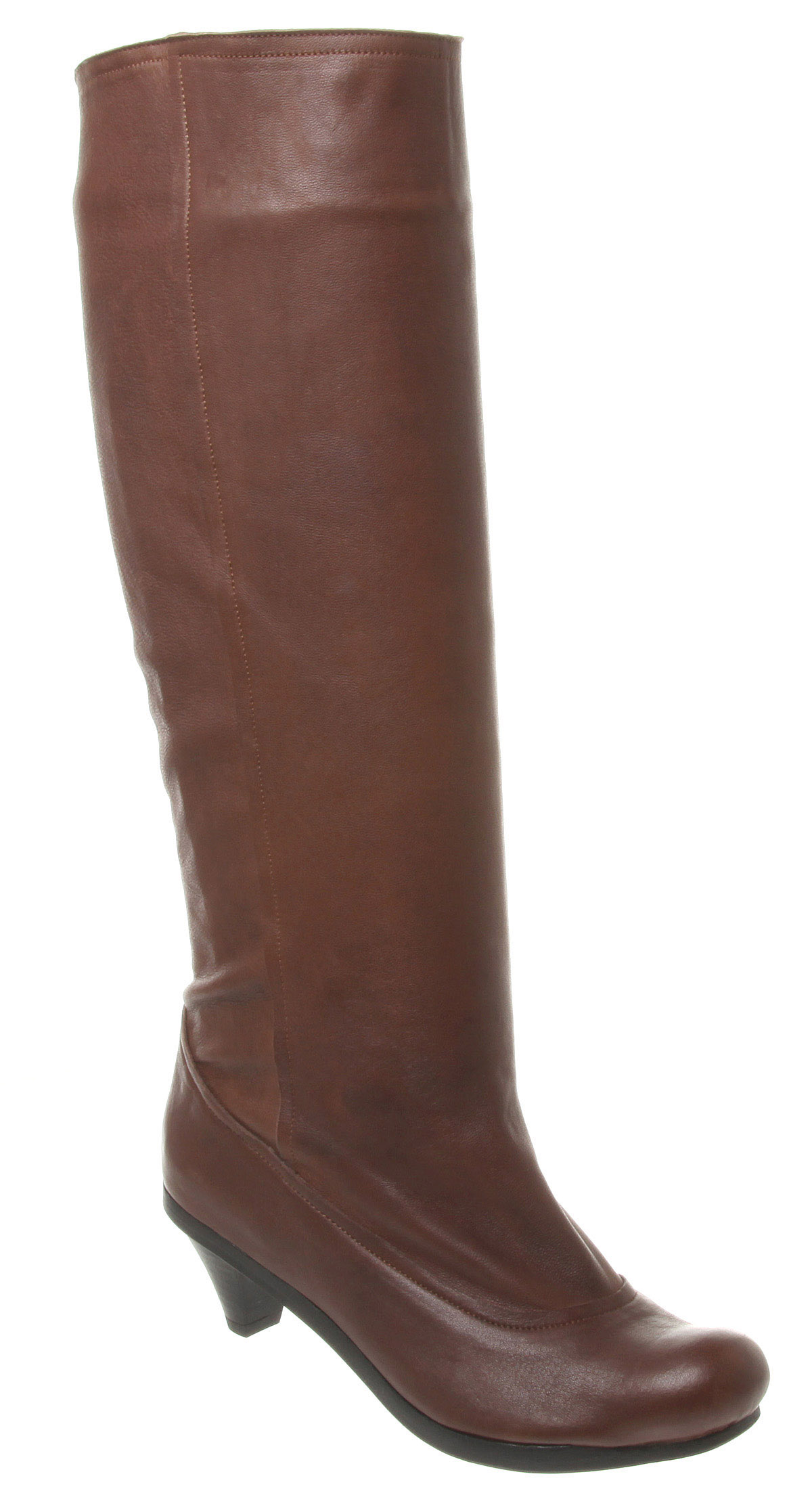 Womens-Tn29-Low-Heel-Knee-High-Boot-Choc-Leather