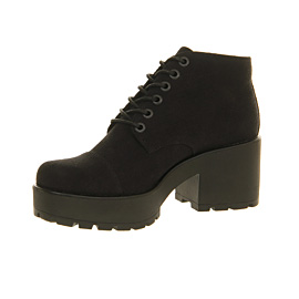Vagabond Dioon Lace Up Womens Ankle Boots Black Canvas