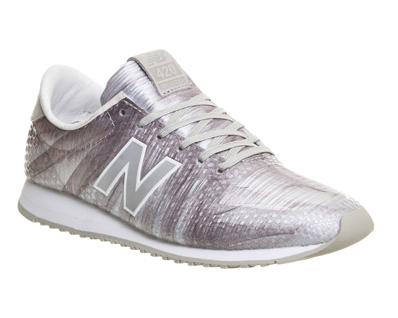 mens new balance 420 white light grey feather trainers