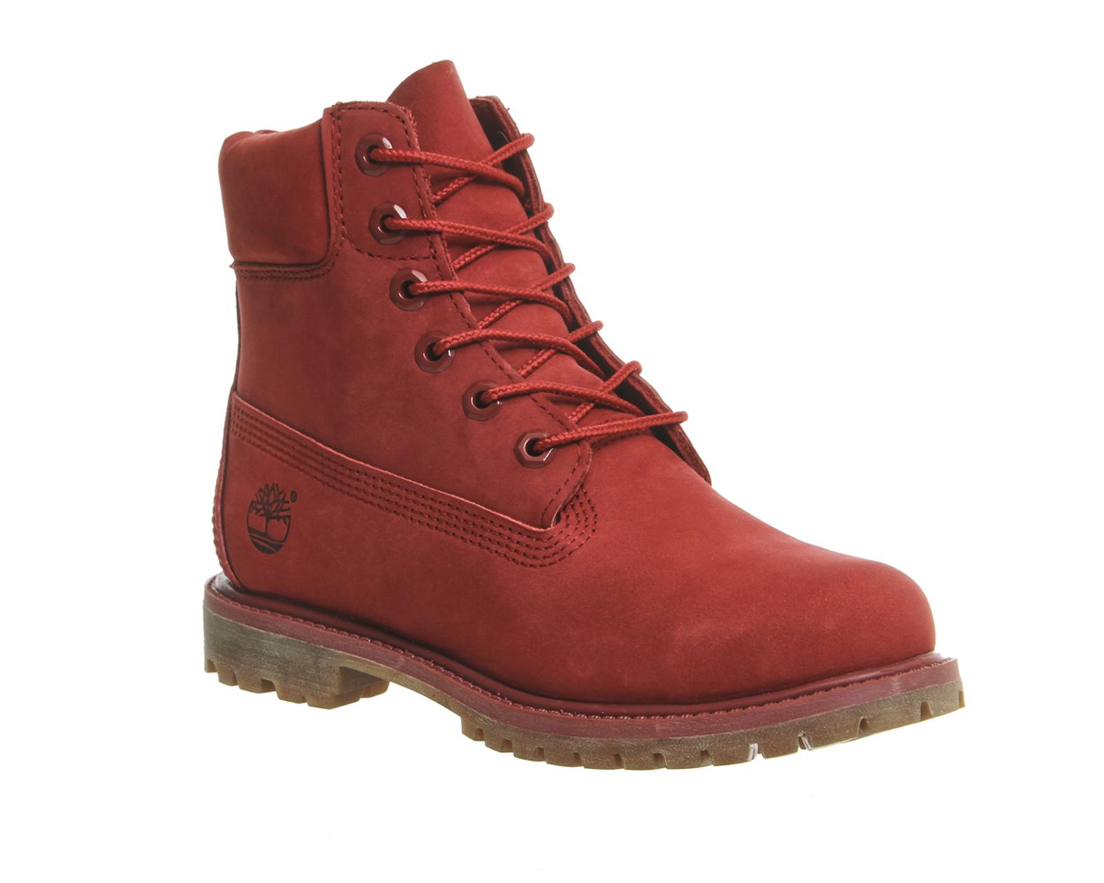 Womens Timberland Premium 6 Boots RED NUBUCK Boots | eBay