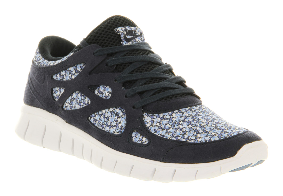 womens nike free run 2 dark obsidian white liberty floral exc trainers shoes ebay. Black Bedroom Furniture Sets. Home Design Ideas