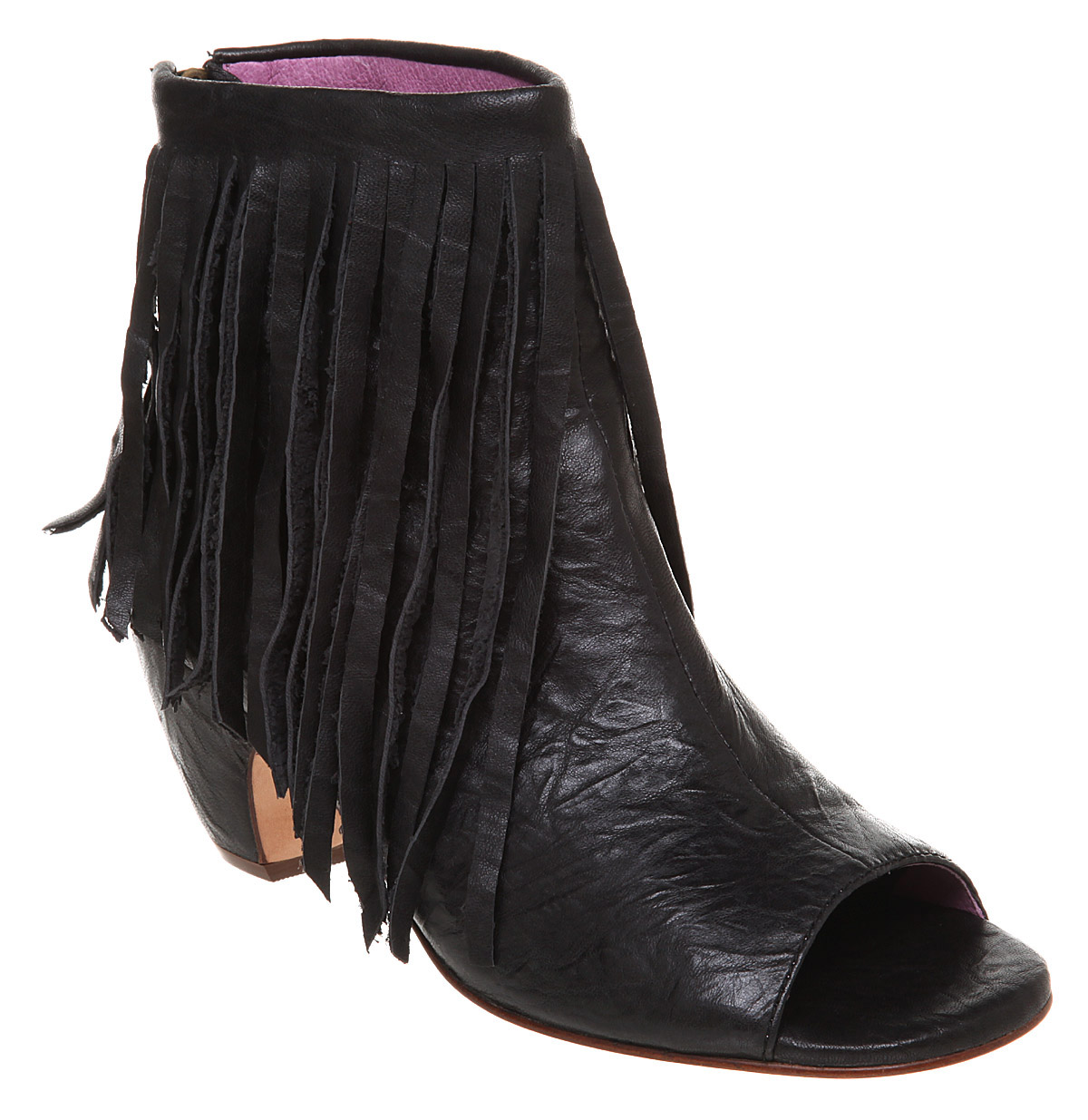 womens gee wawa sally peeptoe fringe boot black leather ebay