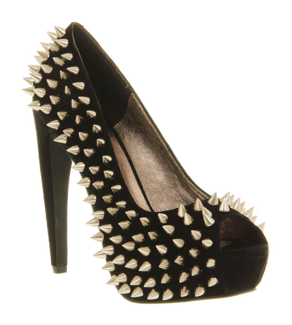 Womens Jeffrey Campbell During Spike High Heel BLACK SUEDE GOLD SPIKES Heels | eBay