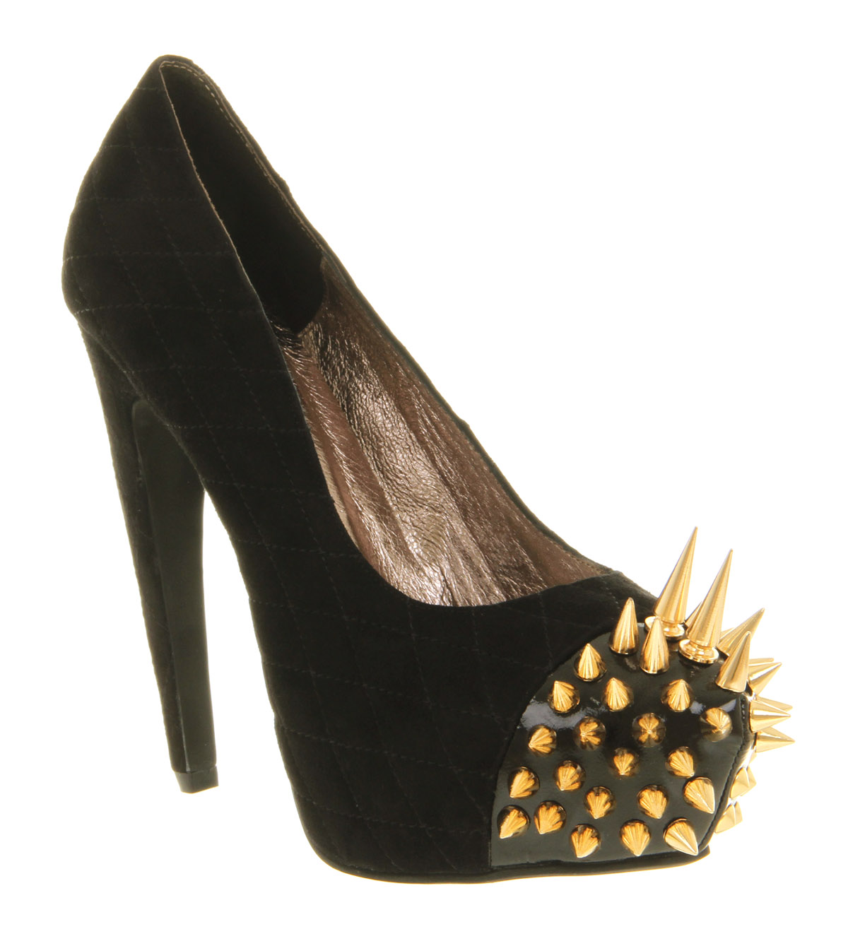 Womens Jeffrey Campbell Battle Spike High Heel Black Sde Gold ...