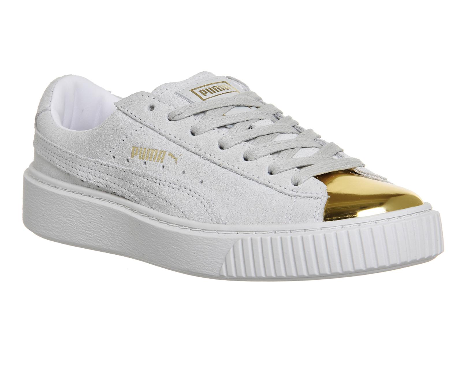 puma suede platform grey gold toe white trainers shoes ebay. Black Bedroom Furniture Sets. Home Design Ideas