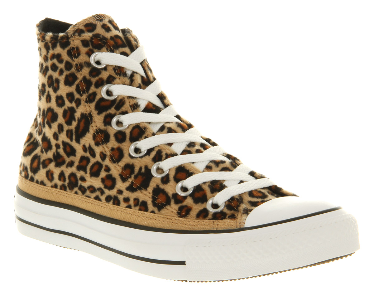 converse all star hi leopard print faux fur smu trainers shoes ebay. Black Bedroom Furniture Sets. Home Design Ideas