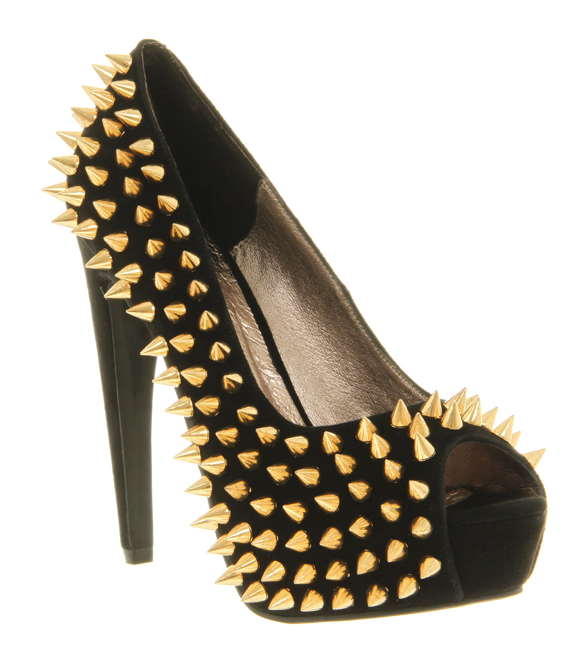 Womens-Jeffrey-Campbell-During-Spike-High-Heel-BLACK-SUEDE-GOLD-SPIKES-Heels