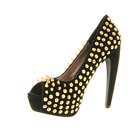 Womens Jeffrey Campbell During Spike Black Suede Gold Spikes Heels ...