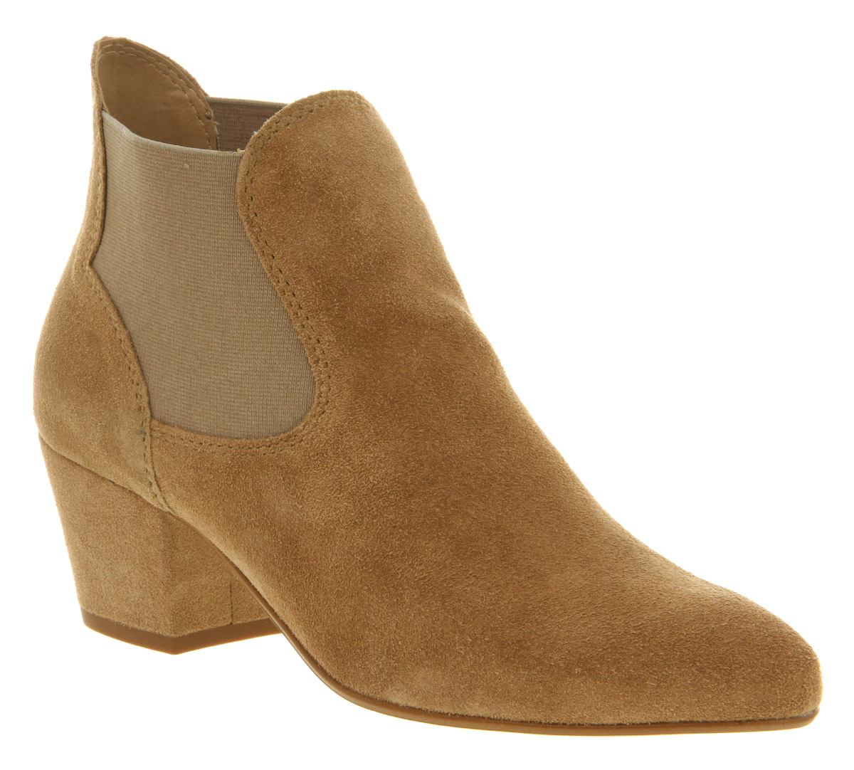 womens office understated chelsea beige suede boots ebay. Black Bedroom Furniture Sets. Home Design Ideas