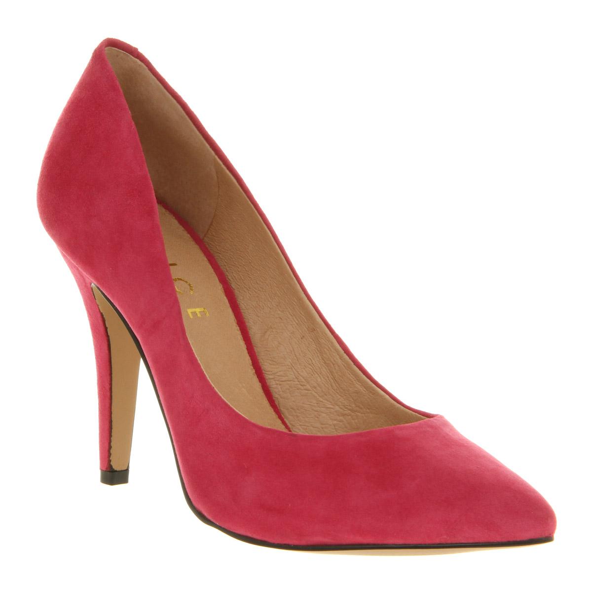 womens office kandi court pink suede heels