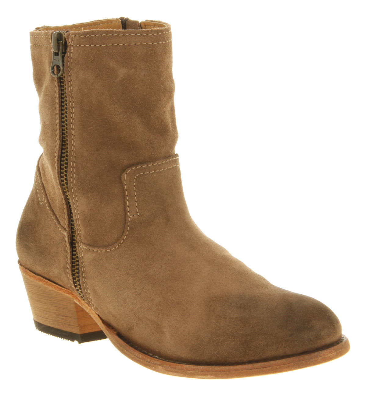 womens h by hudson riley zip ankle boot beige suede boots. Black Bedroom Furniture Sets. Home Design Ideas