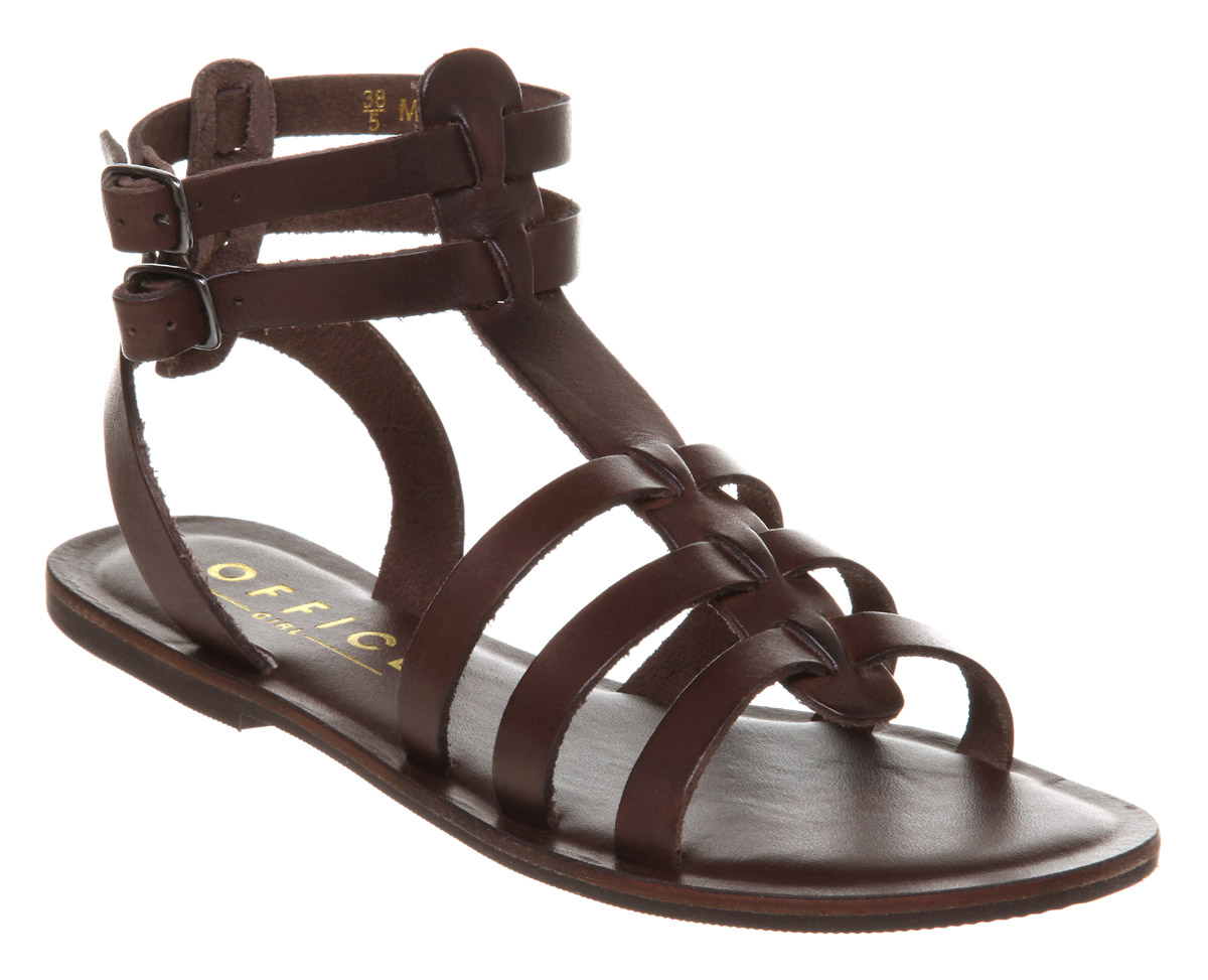 Office Helena Gladiator Choc Brown Leather Sandals DD