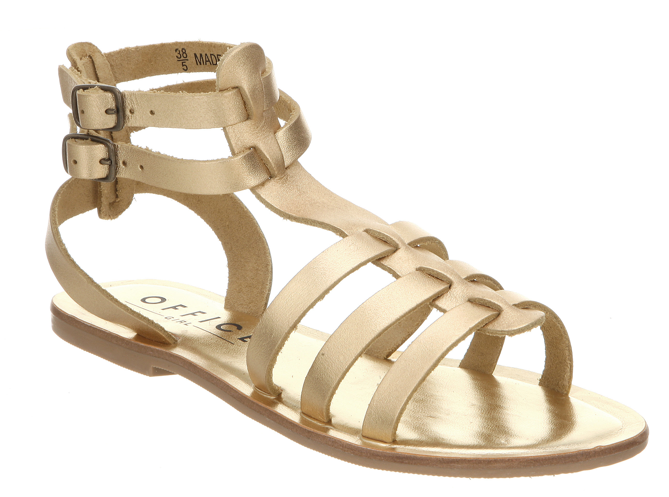 Womens-Office-Helena-Gladiator-Gold-Leather-Sandals
