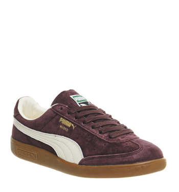 Mens-Puma-Madrid-WINE-SUEDE-Trainers-Shoes