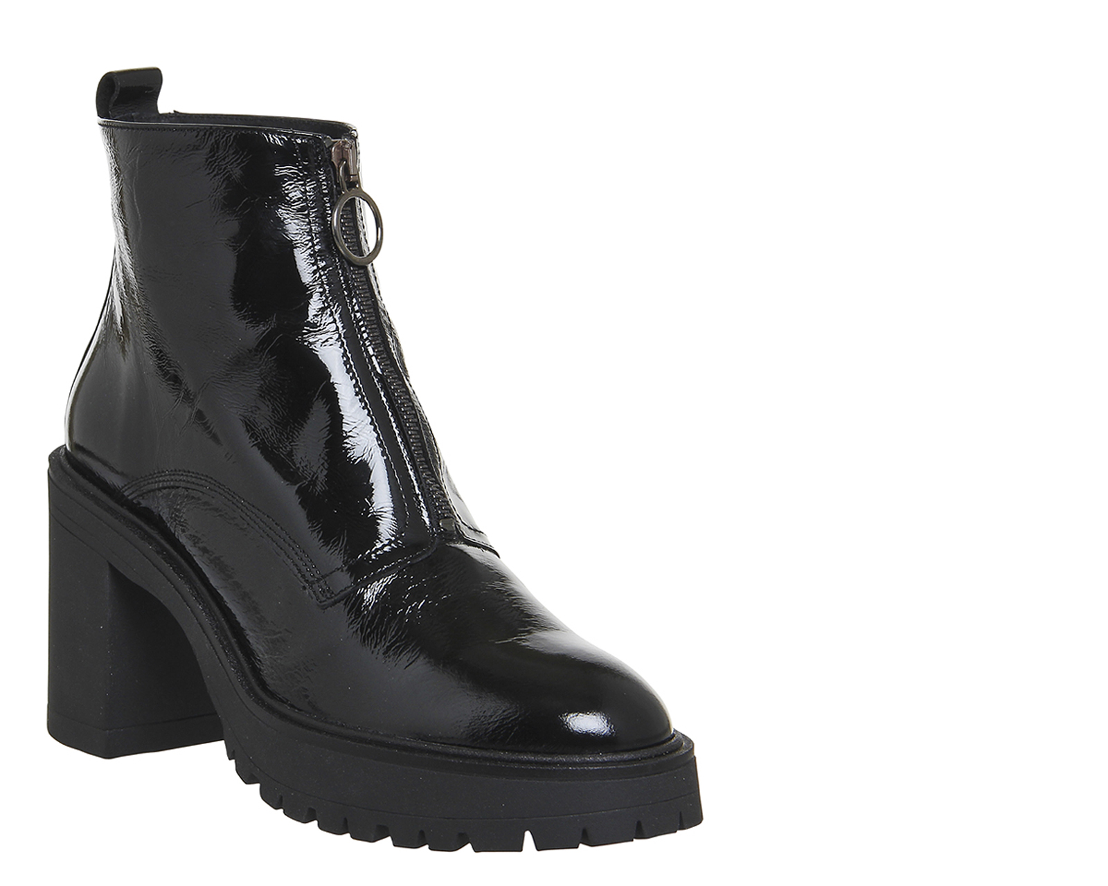 womens office live a chunky boots black patent