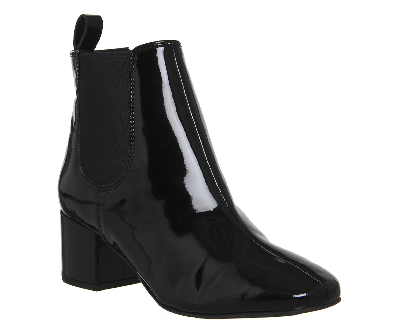womens office bug block heel chelsea boots black