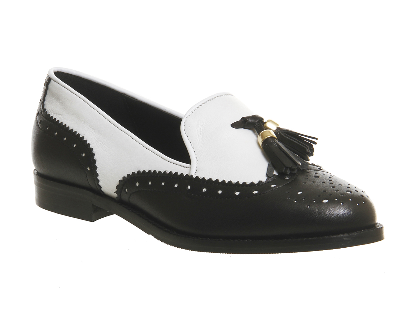 Womens Office Ringo Tel Brogue Loafers Black White