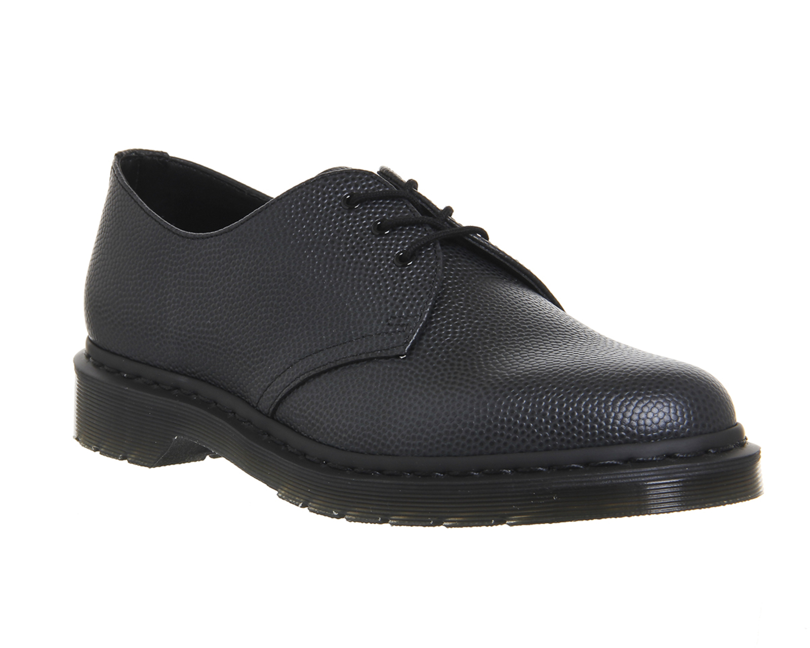 mens dr martens dm 3 eye lace shoe black pebble leather