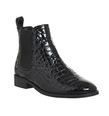 c2a30cbc4 Womens Office Bramble Chelsea Boots BLACK PATENT CROC LEATHER Boots ...