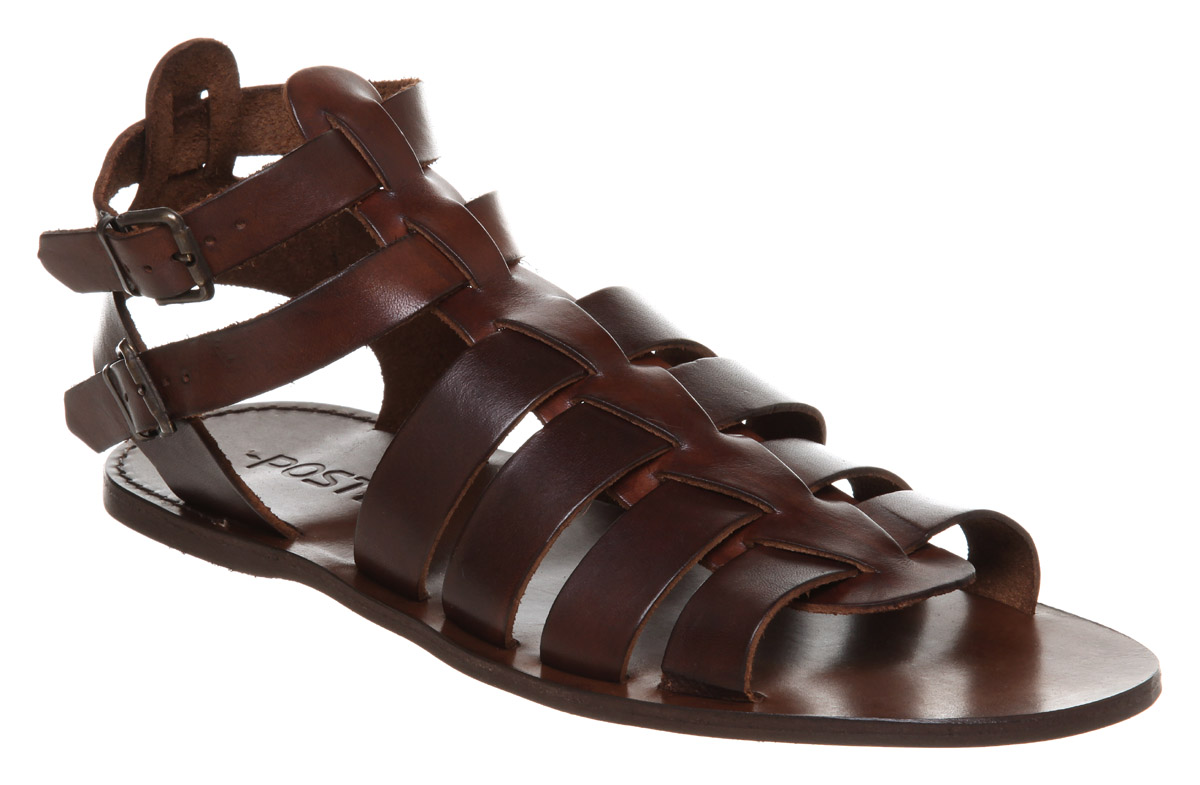 Mens Poste Poste Gladiator Sandal Choc Leather Sandals | eBay