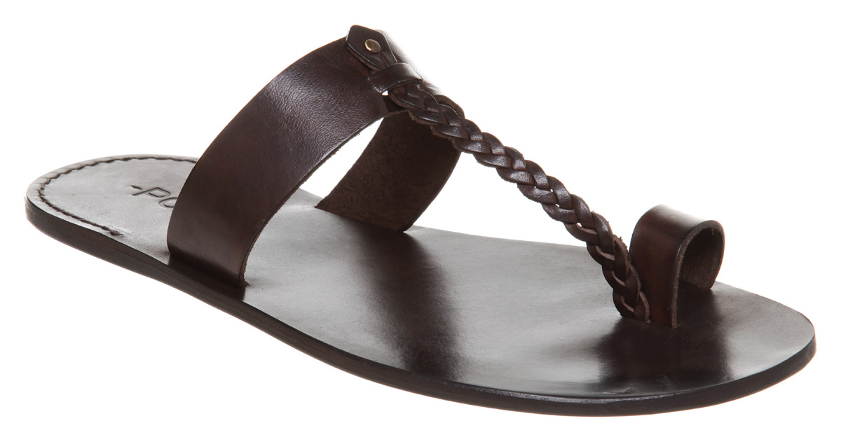 Mens Poste Poste Toe Loop Sandal Choc Leather Sandals | eBay