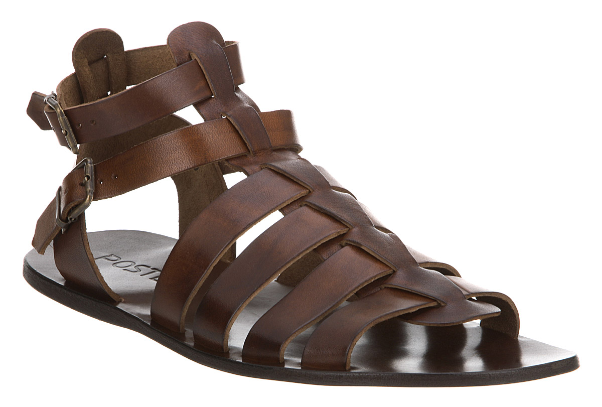 Mens Poste Gladiator Sandal Choc Brown Leather Sandals Ebay