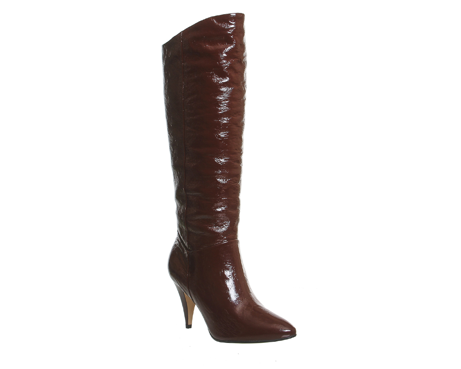 womens office slouch knee boots burgundy patent