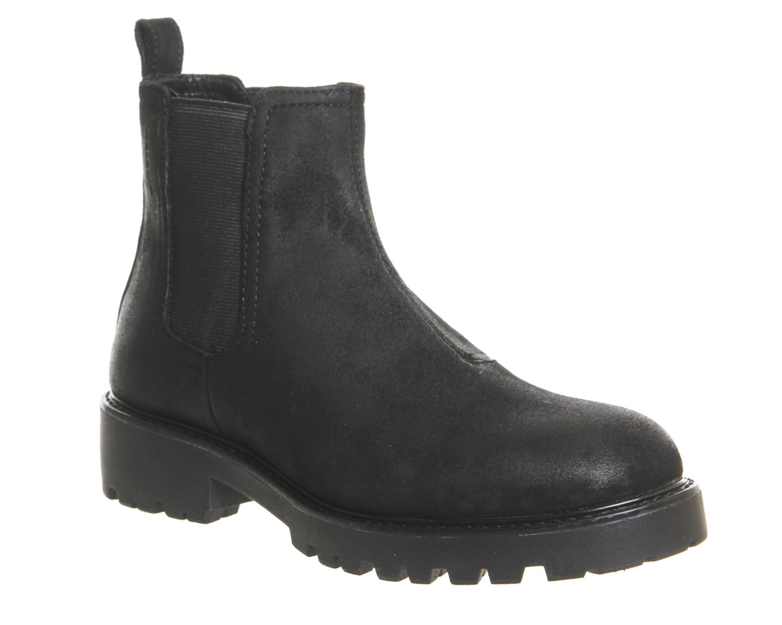 womens vagabond kenova chelsea boots black waxed suede