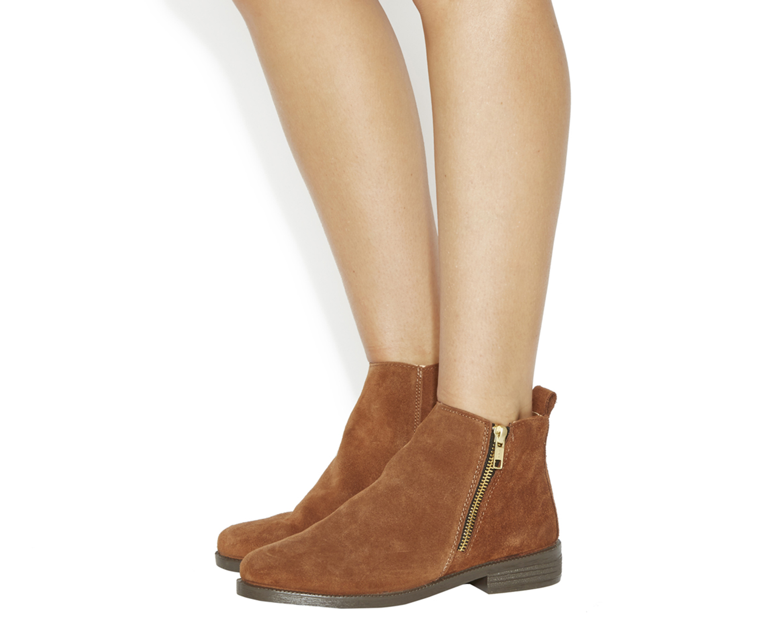 Womens Office Lazy Days Flat Boots TAN SUEDE Boots  c772330af83c