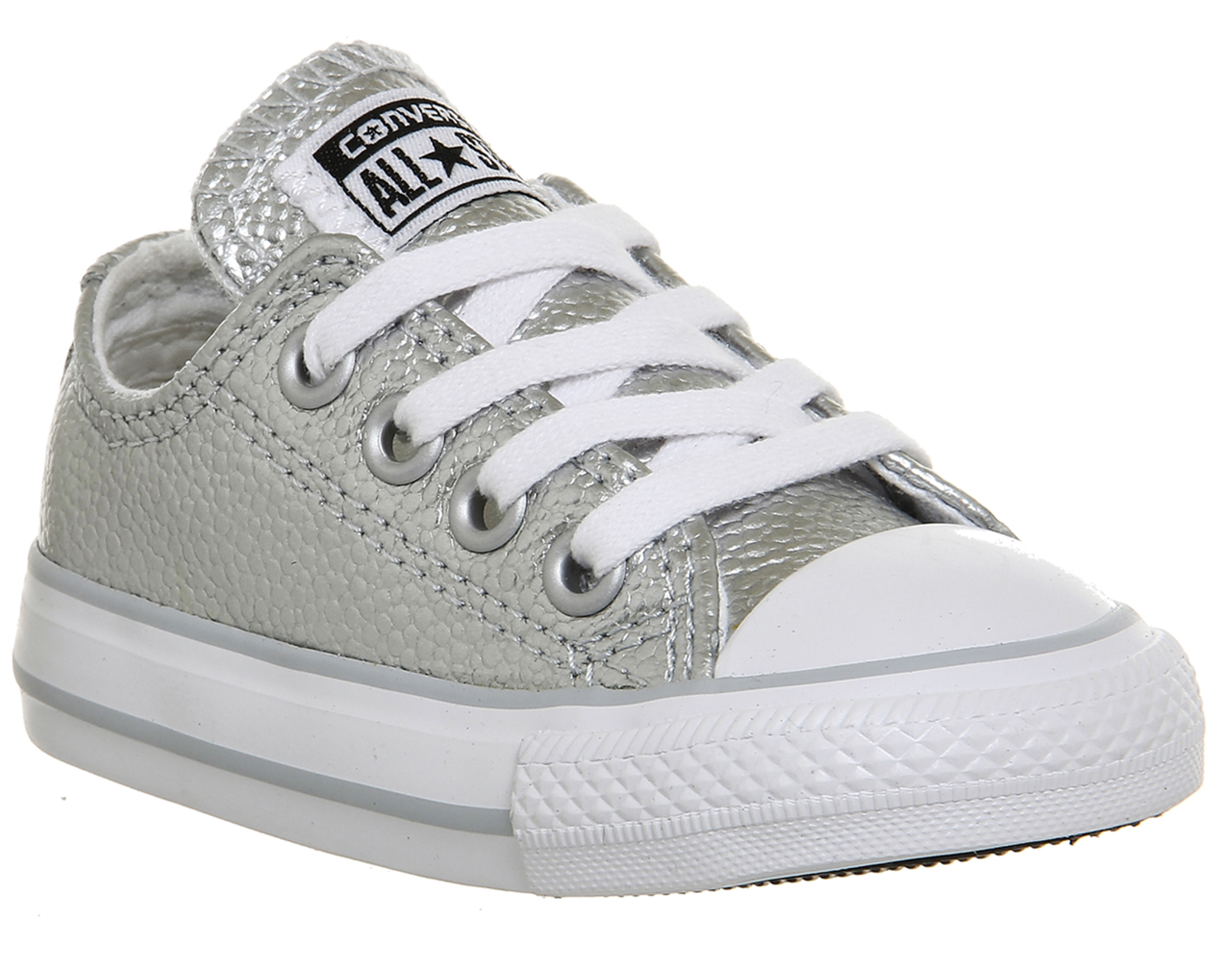 1fef75fec231 Kids Converse All Star Ox Leather Infant PURE SILVER METALLIC Kids ...