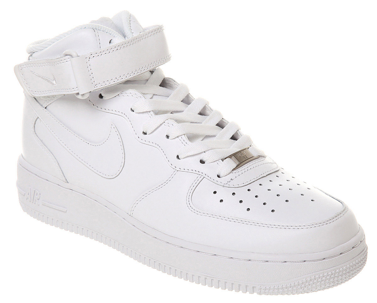 mens nike air force 1 mid white white trainers shoes ebay. Black Bedroom Furniture Sets. Home Design Ideas