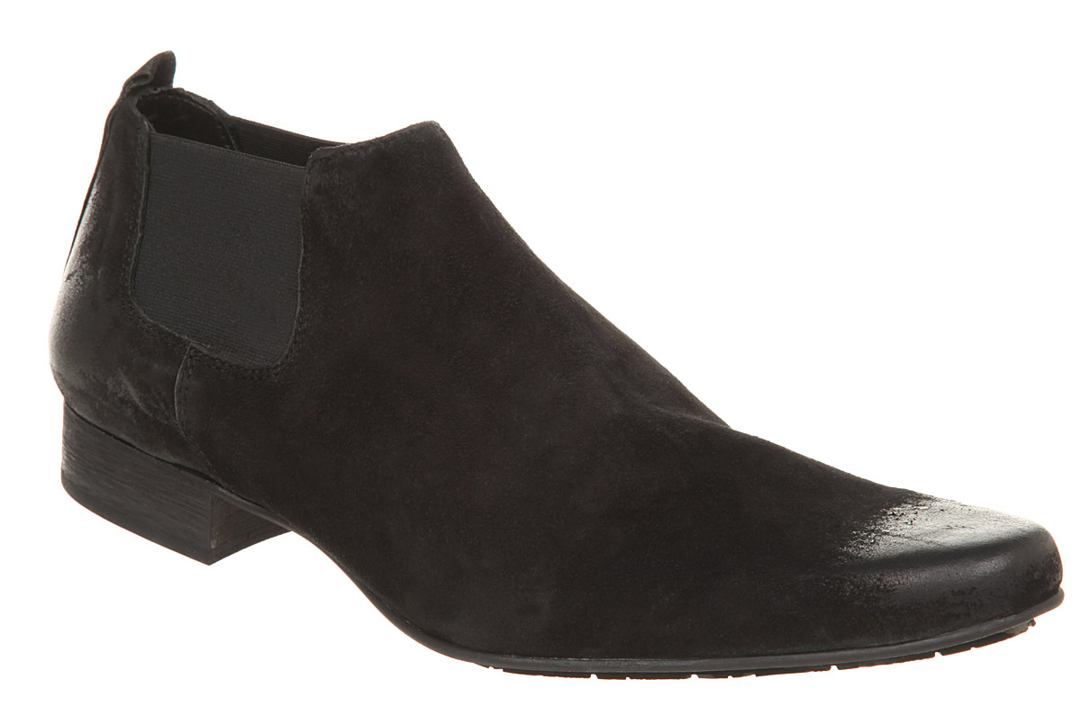 mens h by hudson grohl chelsea boot black suede boots