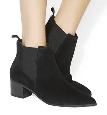 Womens Office Logical Pointed Chelsea Boots Black Suede