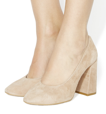Womens Office Niah Block Heel Courts NUDE KID SUEDE Heels | eBay