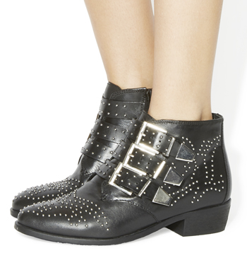 Womens Office Lucky Charm Studded Buckle Western Boots
