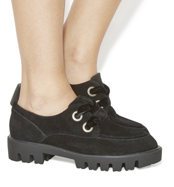 Womens-Office-Pyramid-Chunky-Lace-Up-Flats-BLACK-