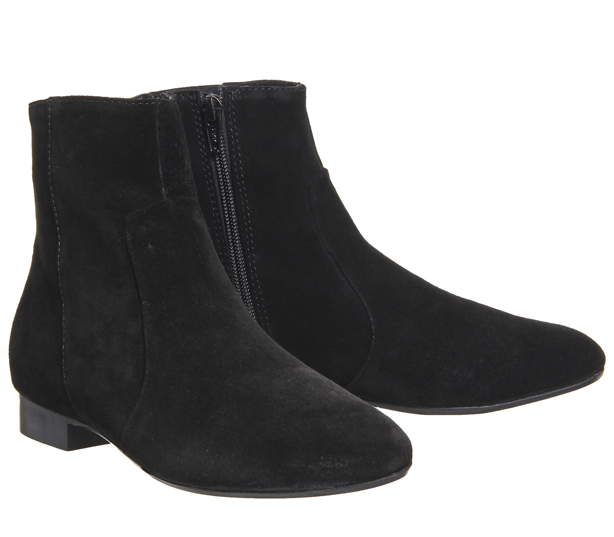 Womens Office Avenue Flat Casual Boots BLACK SUEDE Boots