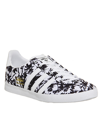 adidas gazelle og chaussures noir blanc or
