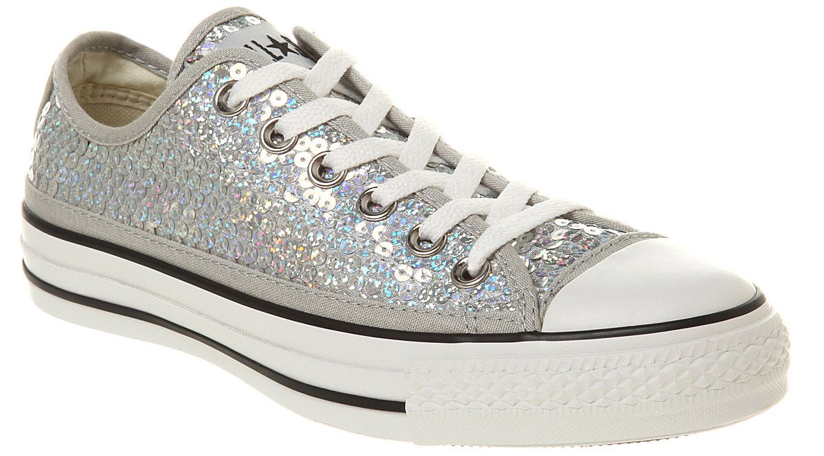 dd3646322f7 Converse Silver Sparkle Trainers british-flower-delivery.co.uk