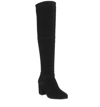 5a75d6a3456 Details about Womens Office Know It All Block Heel Knee Boots BLACK SUEDE  Boots