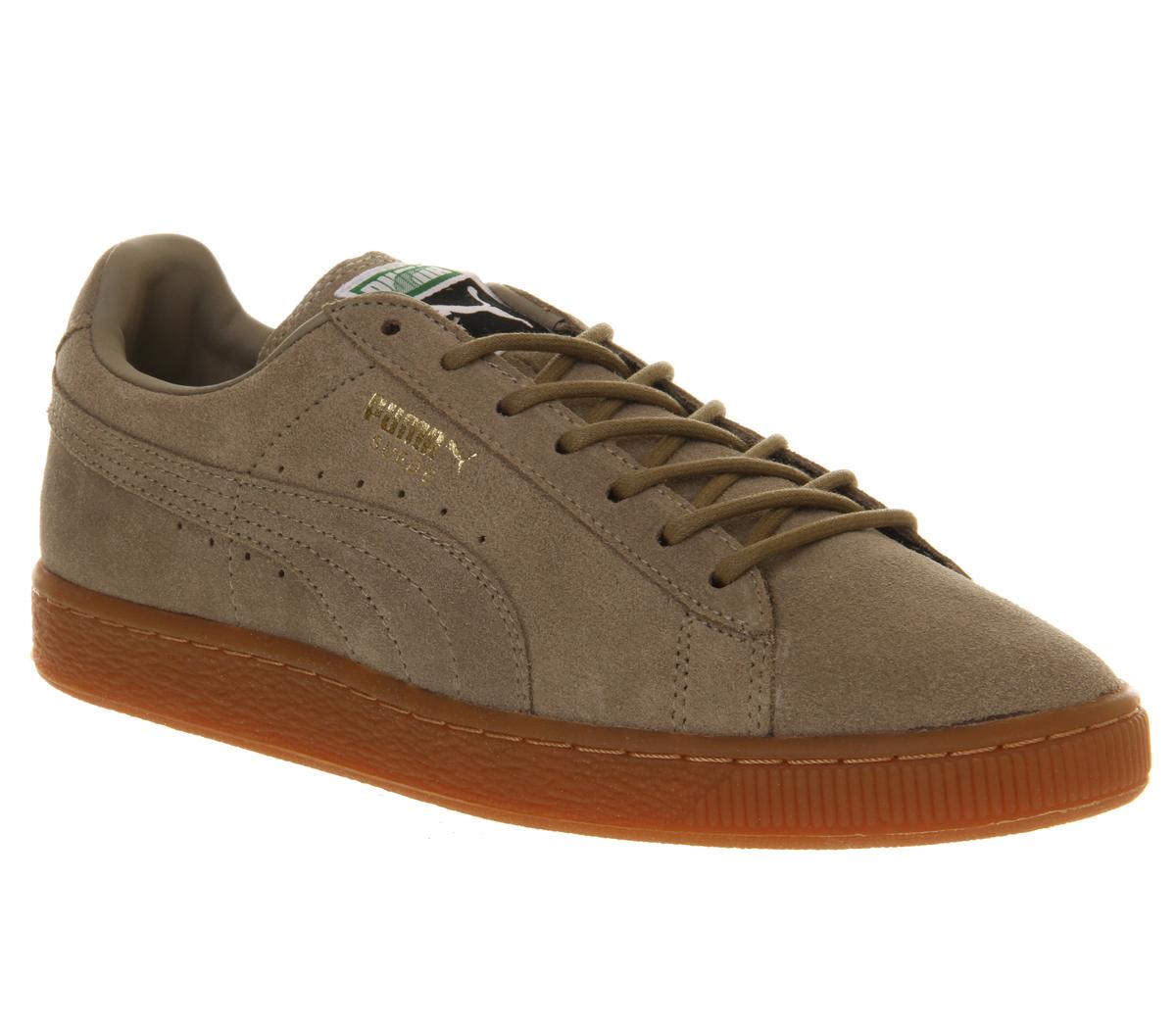 Mens-Puma-Suede-Classic-KHAKI-GUM-Trainers-Shoes